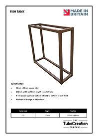 Fish Tank table frame spec sheet