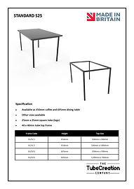 Standard S25 frame spec sheet
