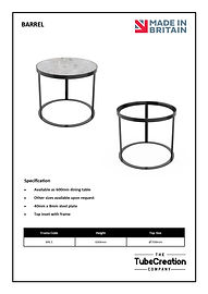 Barrel frame spec sheet