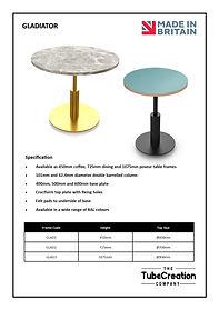 Gladiator table frame spec sheet