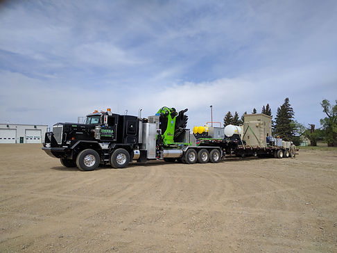 Omega transort, Manitex crane, rig moving, oilfield hauling