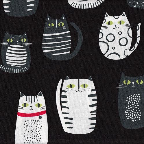 Patchworkstoff schwarze Katzen