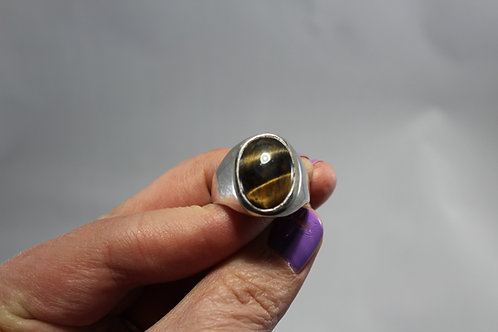 Tigers Eye and Sterling Mens ring