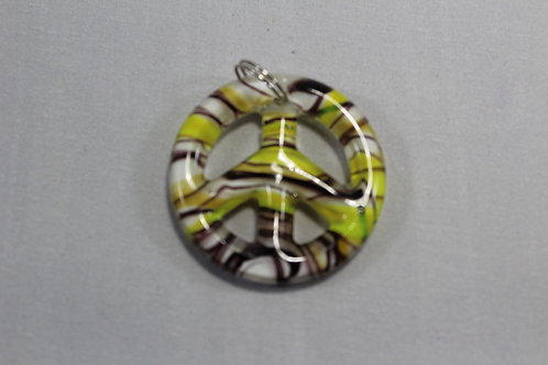 Glass yellow and brown peace sign pendant