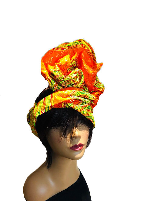 Tangerine Flame Flirty Head Wrap