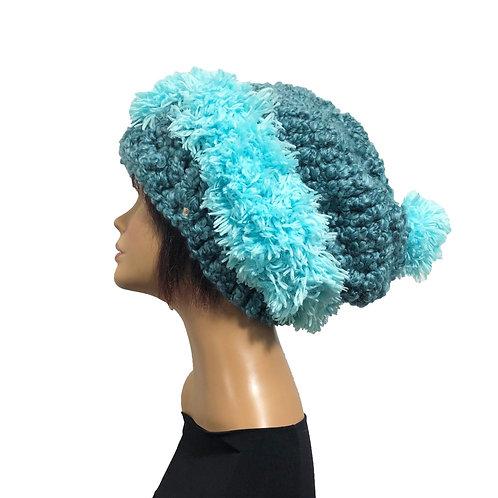 Sea Foam on Teal Slouchy Hat