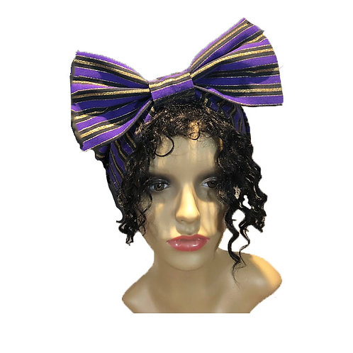 Purple and Gold Bow Head Wrap