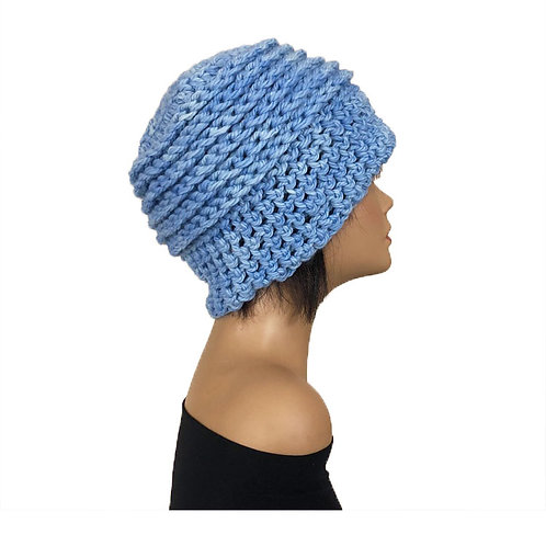 Periwinkle Blue Pillbox Hat in Crotchet