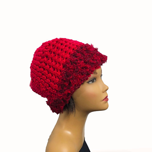 Red in Red lined crochet hat