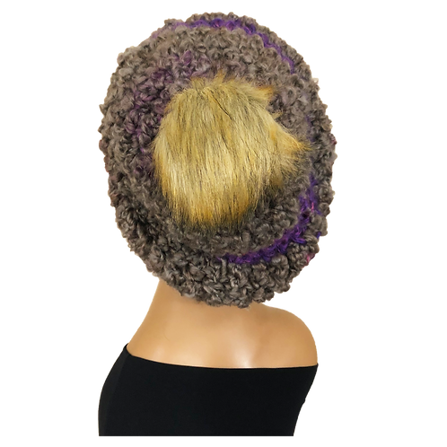 Slouchy Hat Lavenders with Pom