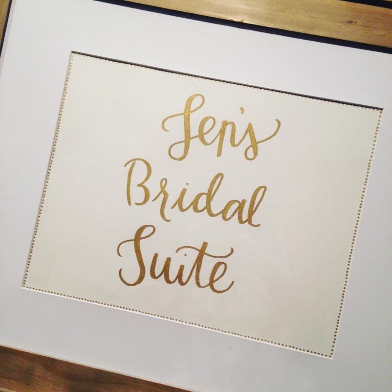 handlettered bridal sign