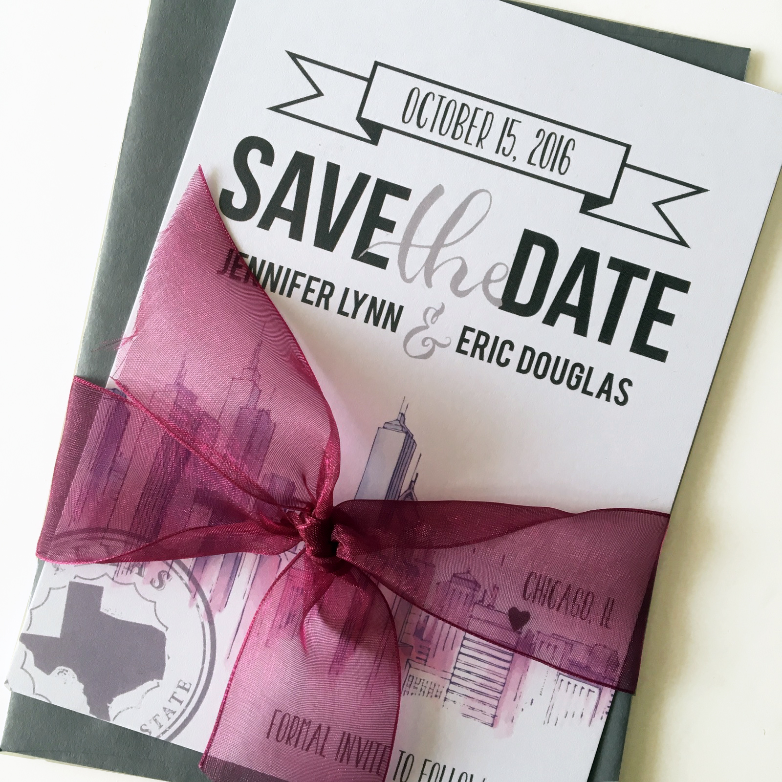 chicago themed save the date