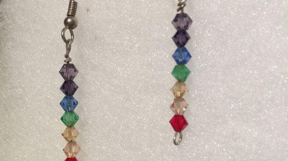 Multi color Crystal drop earrings,stainless steel ear wire