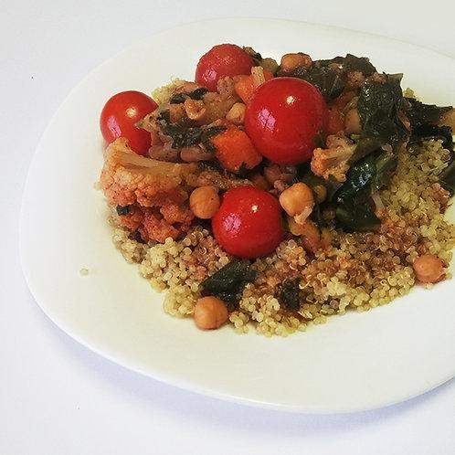 """תבשיל חומוס, מנגולד ודלעת, על בסיס קינואה אורגנית (1 ק""""ג)"""