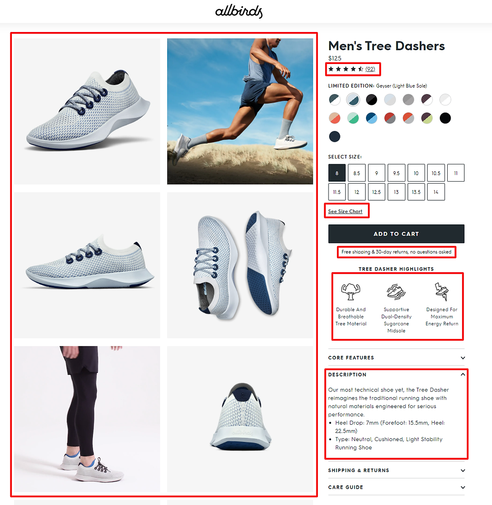 Example of an ecommerce product page