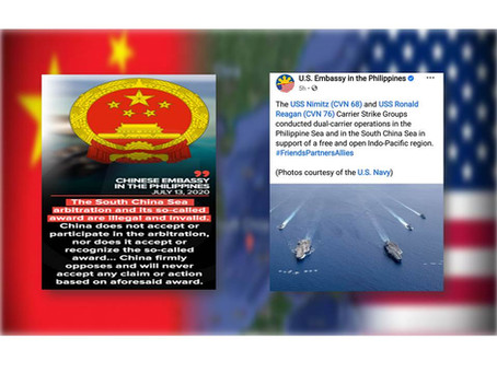 Chinese embassy rejects PH while US Embassy showed Support for PH position on West Philippine Sea