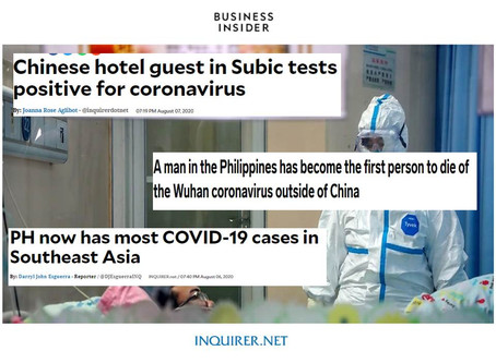1st Covid death outside of China is in PH;Now Has New Case of SARS COV2 of 29 y.o. Chinese National