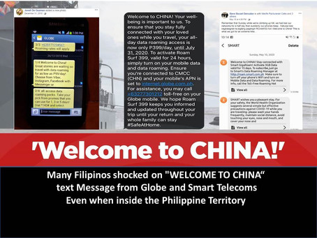 """Many Filipinos shocked on """"WELCOME TO CHINA"""" txt Message from Telecoms upon arriving in PH Territory"""