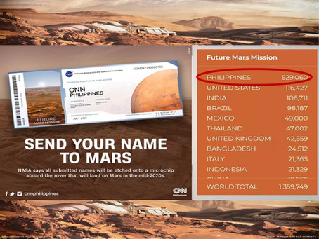 PH tops the total number of more than 500k registrations to go to Mars in 2026 in the whole world