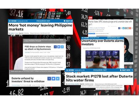 Duterte attacks on Big Businesses led to Investors losing Billions Stocks; More Investors leaving PH