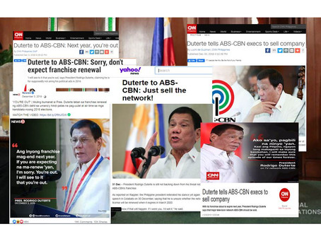(2019)Duterte to ABSCBN: Sorry Don't Expect Franchise!Next year,you're out! Just sell the network!