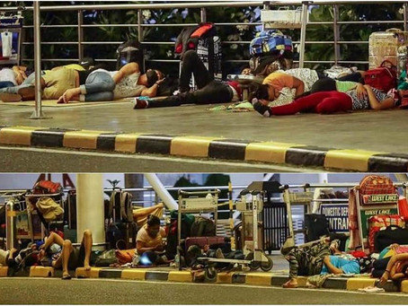 Stranded OFWs Sleeps on Sidewalks of NAIA are Emotional  on What they Endured during a Health Crisis