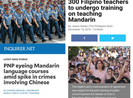 China Expands Mandarin Language to PNP & Filipino Teachers to teach Public Schools in Philippines