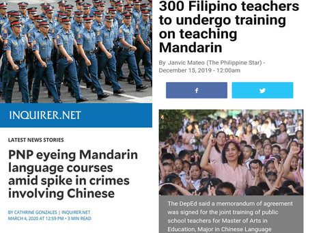 China Expands Mandarin Language to PNP & Filipino Teachers to teach Public Schools in Philippines