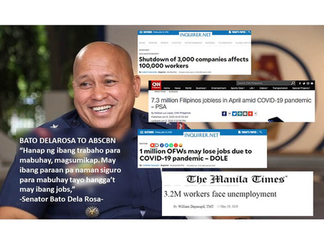 Amid high unemployment, pandemic layoffs, Dela Rosa tells ABS-CBN workers to find other jobs