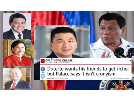 Philippine President Rodrigo Duterte Wants His Friends to Get Richer