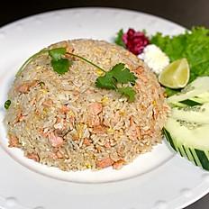 Garlic Salmon Fried Rice
