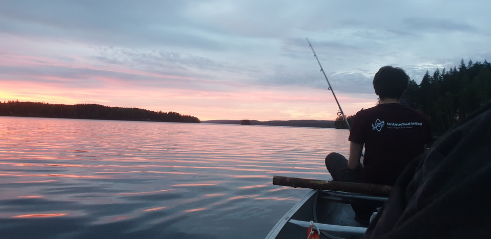 Vissen met de zonsondergang