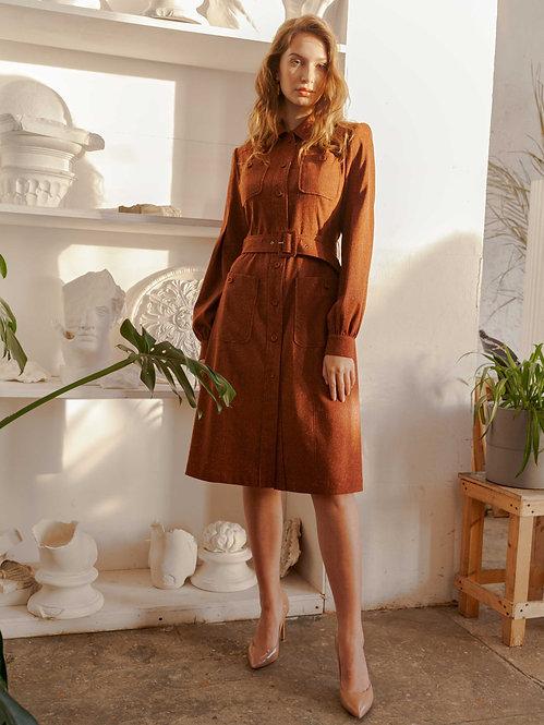 Платье в стиле сафари из твида
