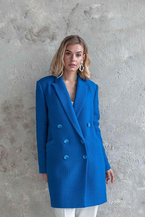 Пальто укороченное утепленное синее, удлиненный жакет двубортный пошив на заказ