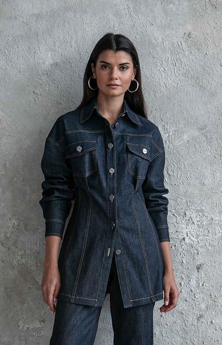 Жакет джинсовый длинный, джинсовая рубашка на заказ