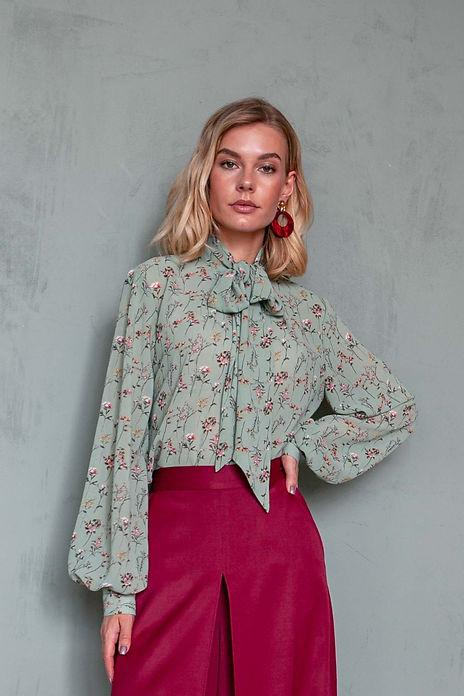 Цветочная блуза с бантом и рукавами-фонариками, ателье Москва