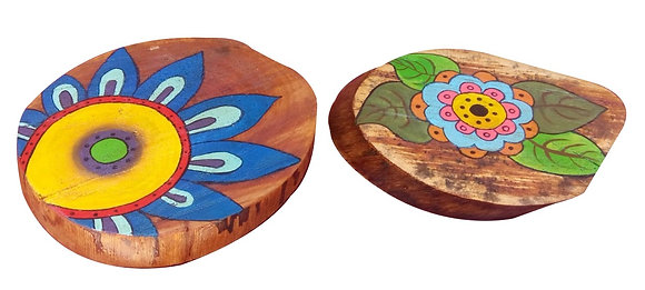 Pintura em tronco - Porta petiscos