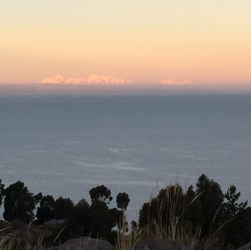 The Bolivian Cordilleras at sunset
