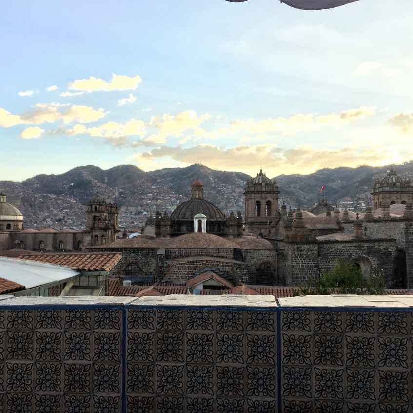 Enjoying a pisco sour on this terrace