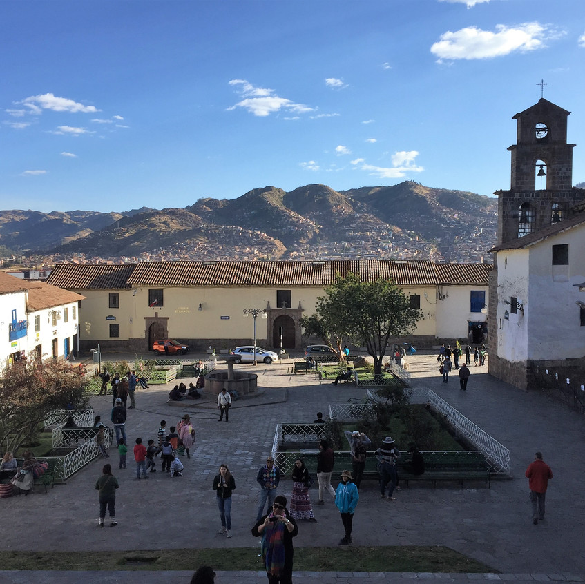 """This is a square in the more popular, more """"bohemian"""" San Blas neighborhood., all constructed on a hill. *pant, pant*"""