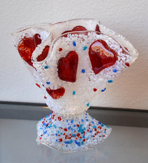 Large Folded Candle Holder with Hearts