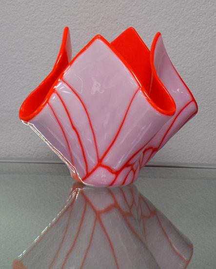 Large Orange/White Broken Design Candle Holder