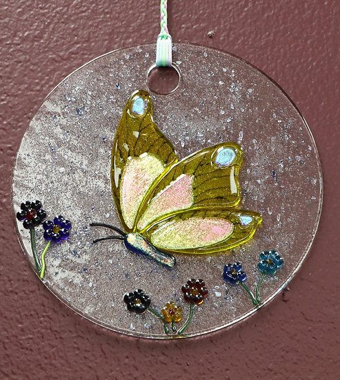 Yellow Butterfly Sun Catcher