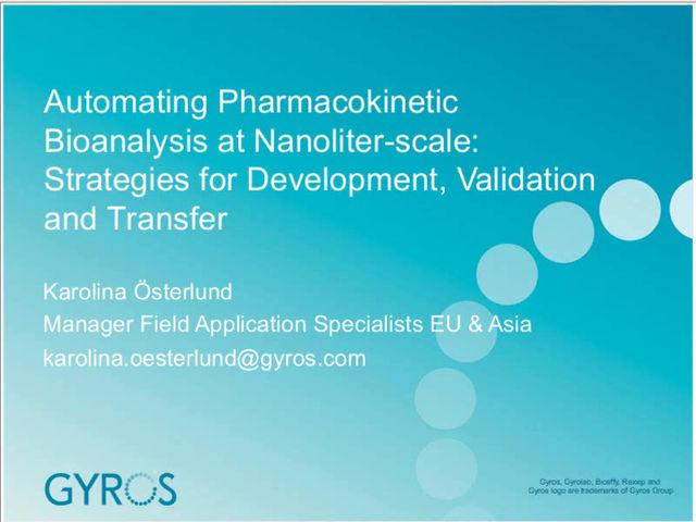 Automating Pharmacokinetic Bioanalysis at Nanoliter-scale.