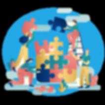 team-work-connecting-puzzle-pieces-backg