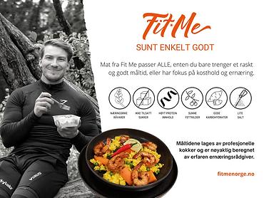 plakaten til fitme norge med info om måltider de tilby