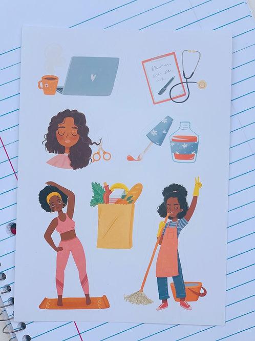 Girl Around Town Sticker Set