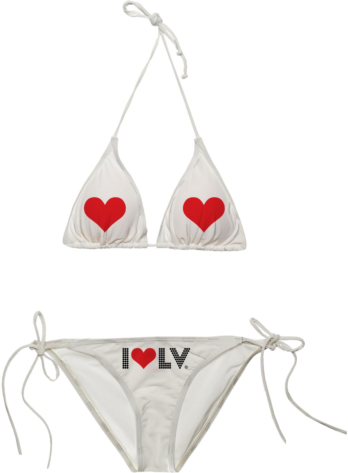 I Love LV® Lights White Bikini