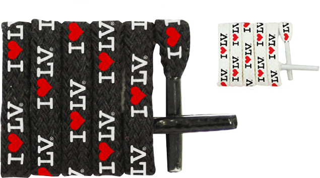 I Love LV® White and Black Shoelaces