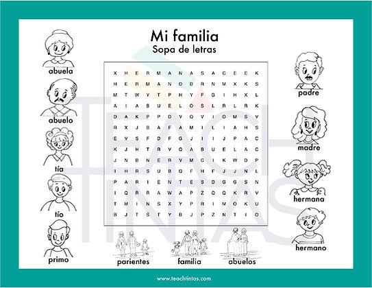 Familia sopa de letras español